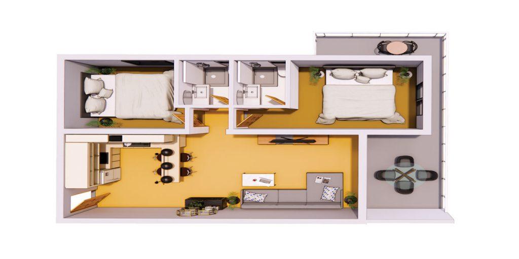 واحدهای دوخوابه پروژه آپارتمانهای آبی
