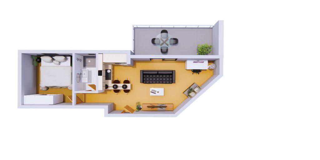 واحدهای یک خوابه پروژه آپارتمانهای آبی
